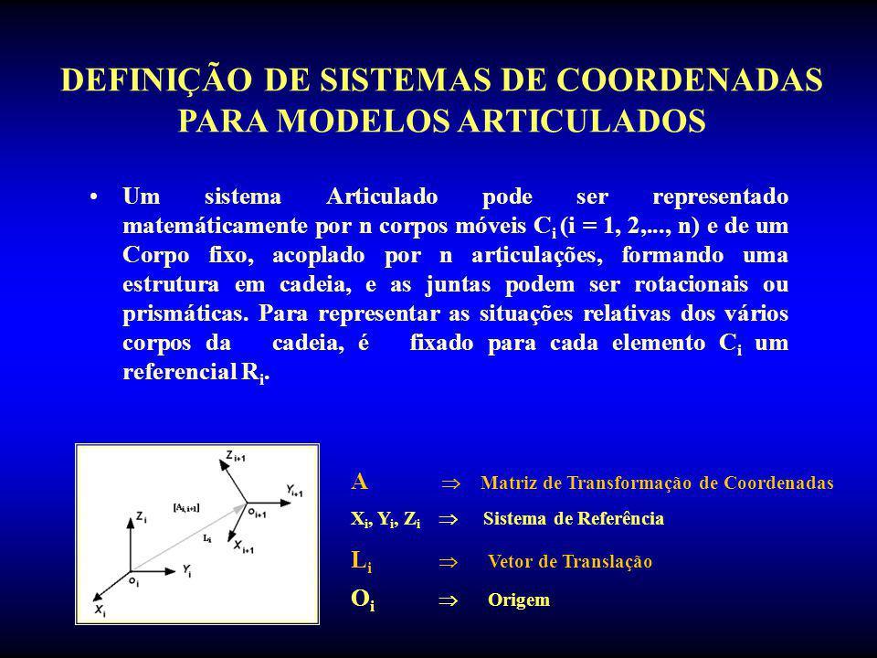 DEFINIÇÃO DE SISTEMAS DE COORDENADAS PARA MODELOS ARTICULADOS