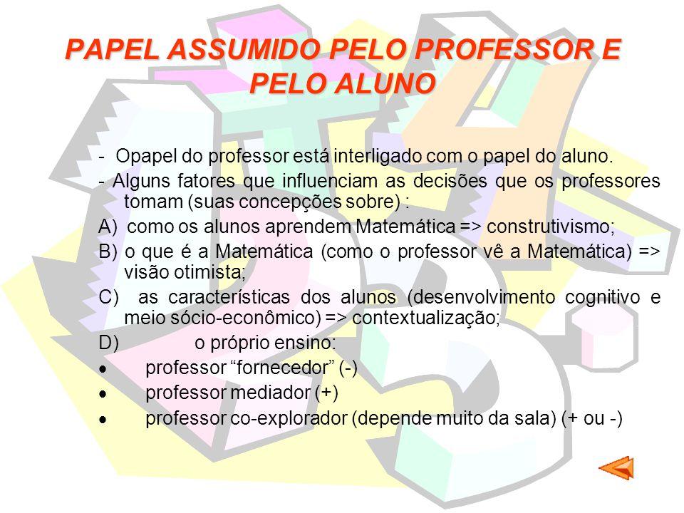 PAPEL ASSUMIDO PELO PROFESSOR E PELO ALUNO