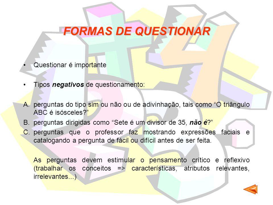 FORMAS DE QUESTIONAR Questionar é importante