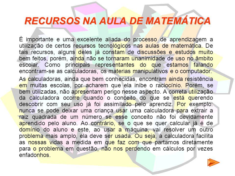 RECURSOS NA AULA DE MATEMÁTICA