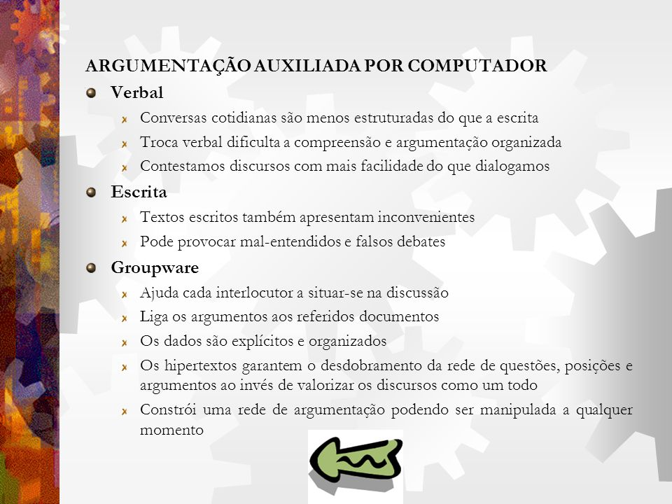 ARGUMENTAÇÃO AUXILIADA POR COMPUTADOR Verbal