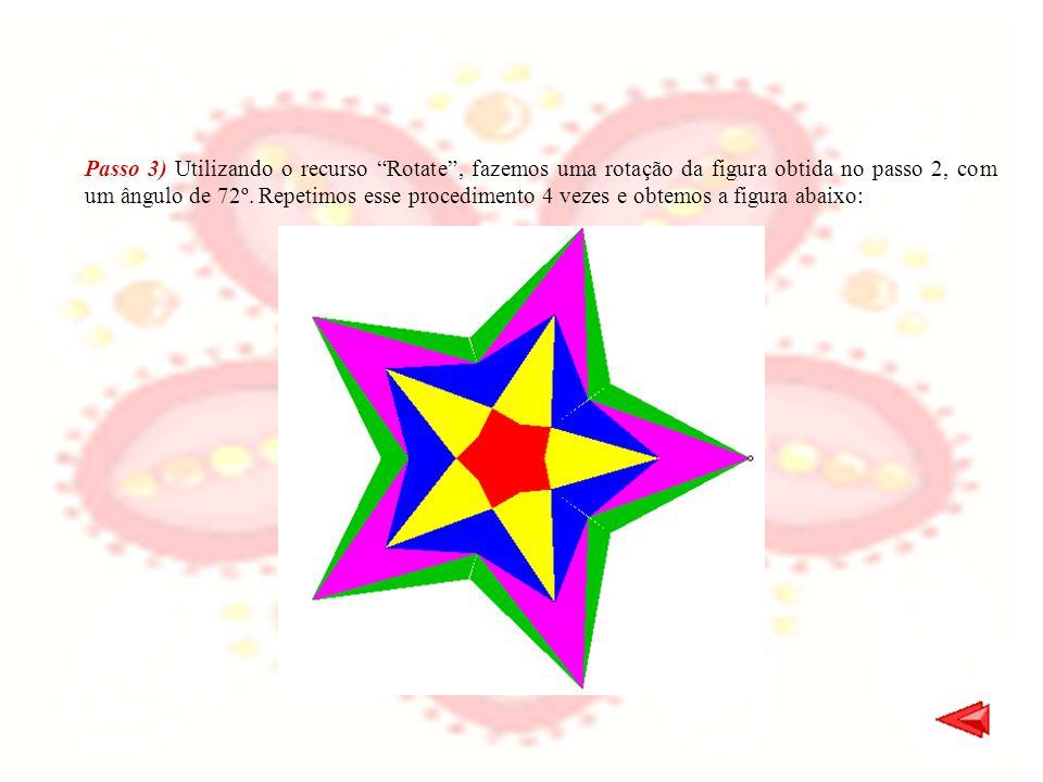 Passo 3) Utilizando o recurso Rotate , fazemos uma rotação da figura obtida no passo 2, com um ângulo de 72º.