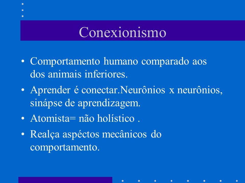 Conexionismo Comportamento humano comparado aos dos animais inferiores. Aprender é conectar.Neurônios x neurônios, sinápse de aprendizagem.