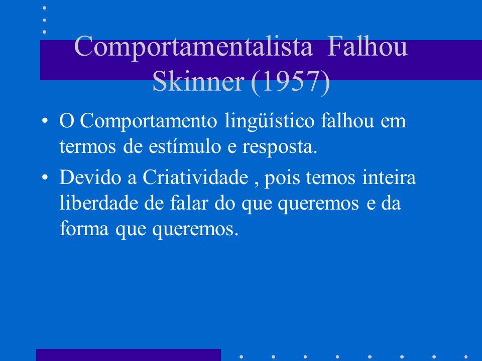 Comportamentalista Falhou Skinner (1957)
