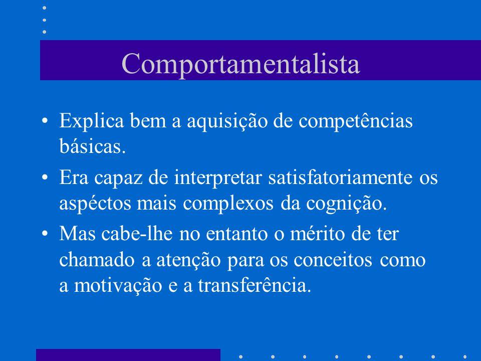 Comportamentalista Explica bem a aquisição de competências básicas.