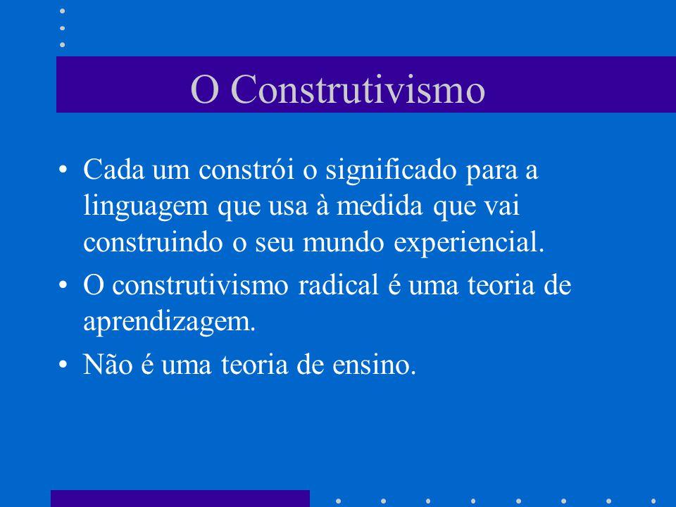 O Construtivismo Cada um constrói o significado para a linguagem que usa à medida que vai construindo o seu mundo experiencial.