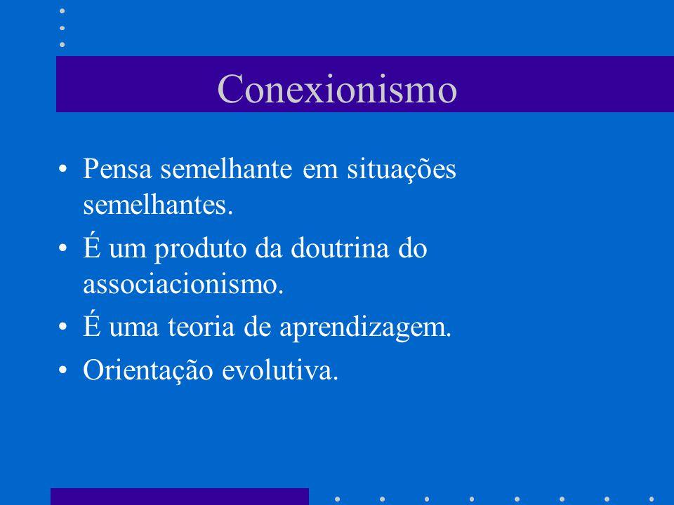 Conexionismo Pensa semelhante em situações semelhantes.