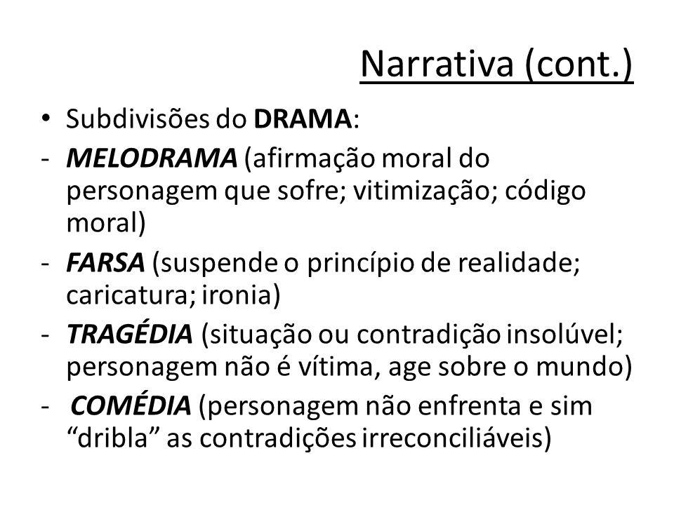 Narrativa (cont.) Subdivisões do DRAMA: