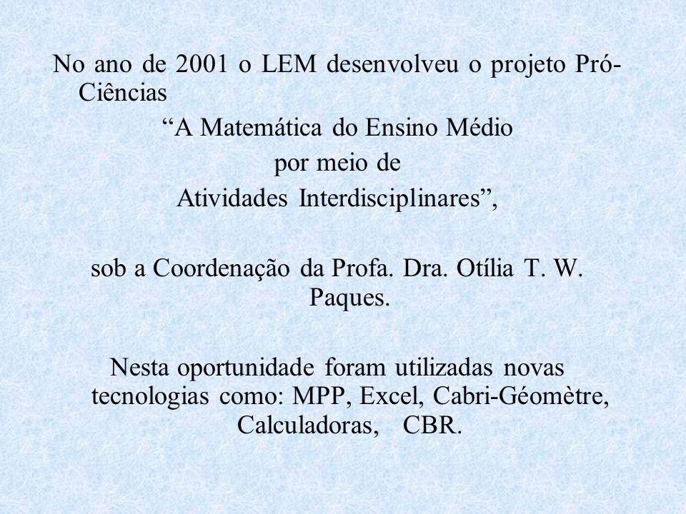 No ano de 2001 o LEM desenvolveu o projeto Pró-Ciências