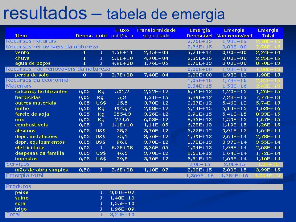 resultados – tabela de emergia