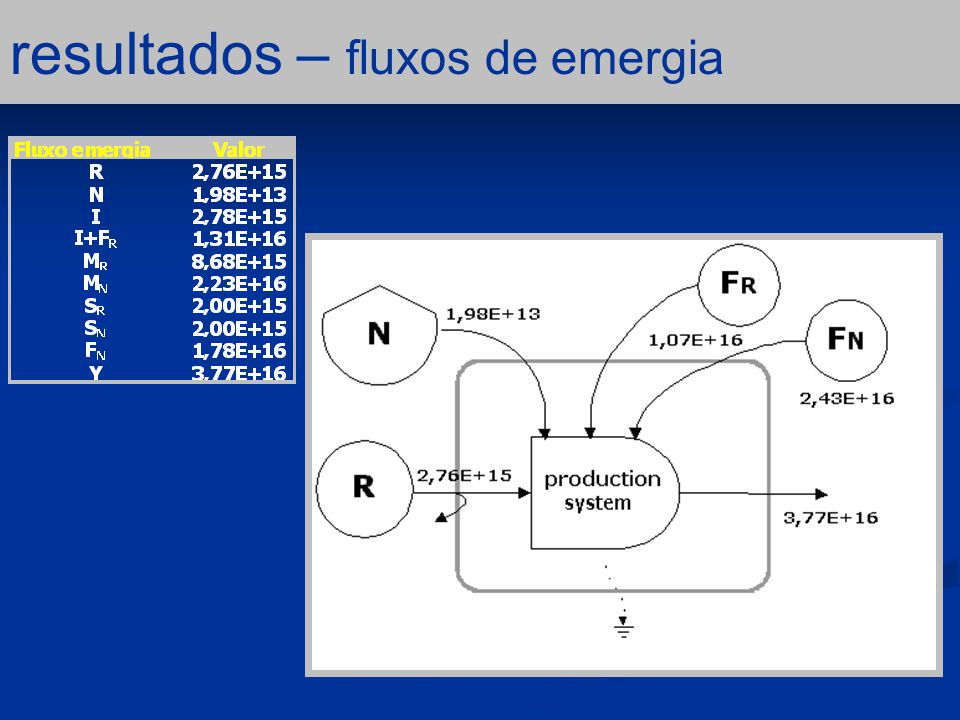 resultados – fluxos de emergia
