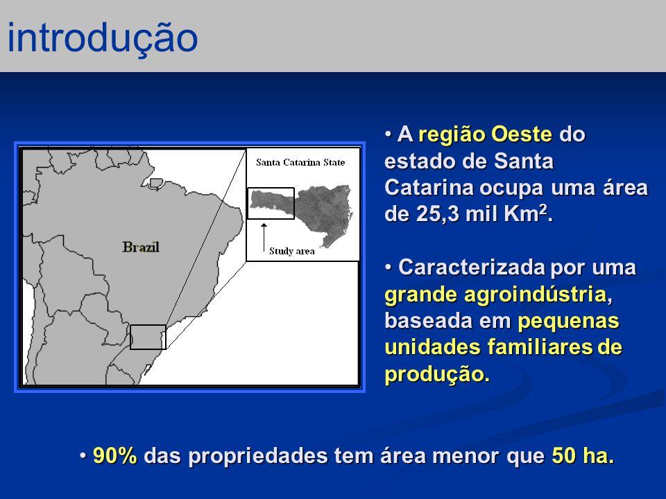 introdução A região Oeste do estado de Santa Catarina ocupa uma área de 25,3 mil Km2.
