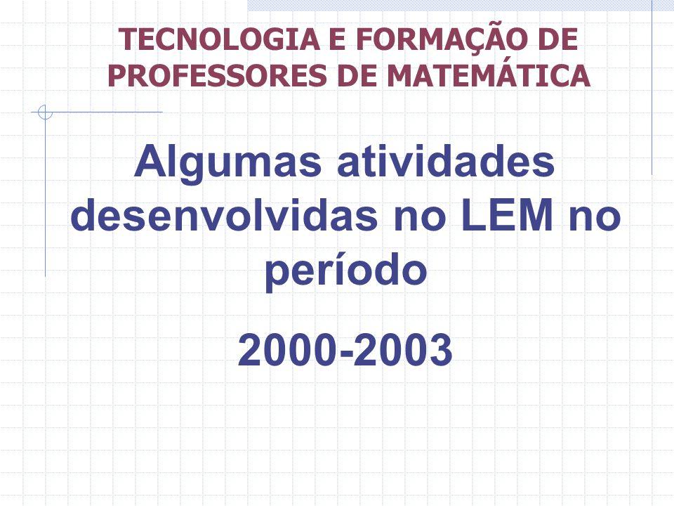 Algumas atividades desenvolvidas no LEM no período 2000-2003