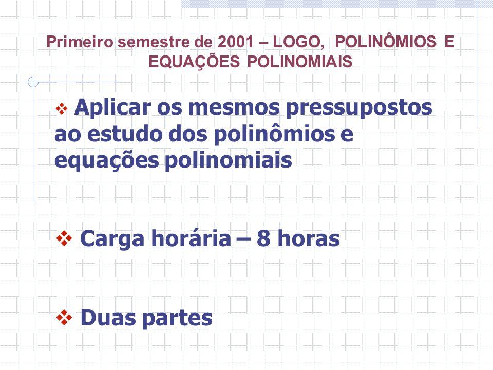 Primeiro semestre de 2001 – LOGO, POLINÔMIOS E EQUAÇÕES POLINOMIAIS