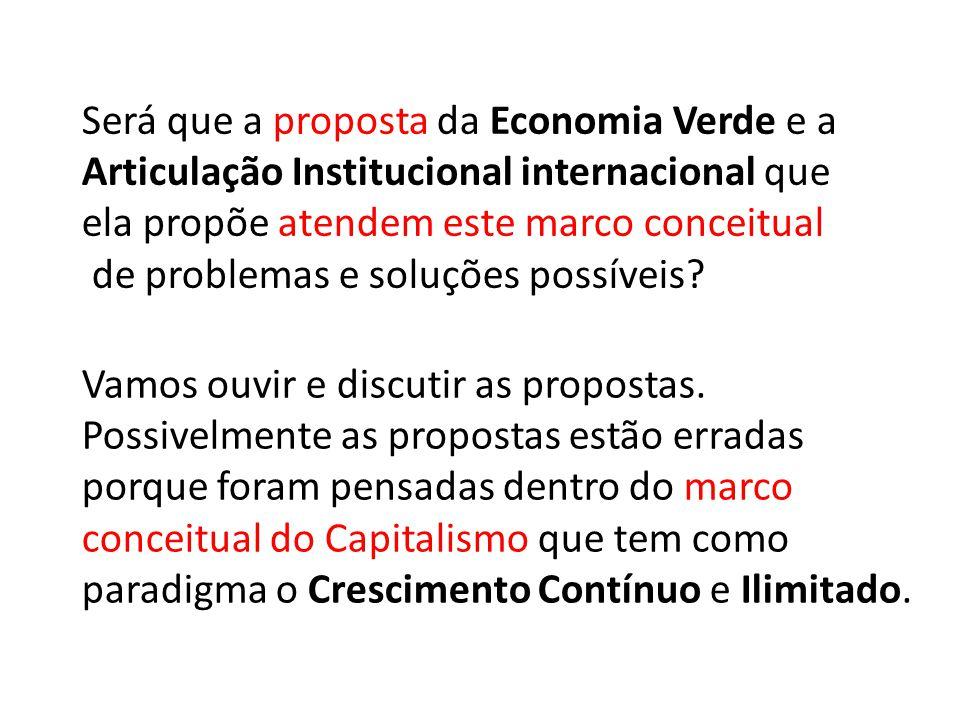 Será que a proposta da Economia Verde e a Articulação Institucional internacional que ela propõe atendem este marco conceitual de problemas e soluções possíveis