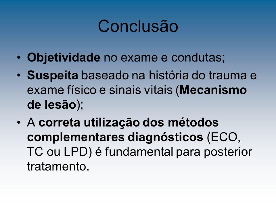 Conclusão Objetividade no exame e condutas;