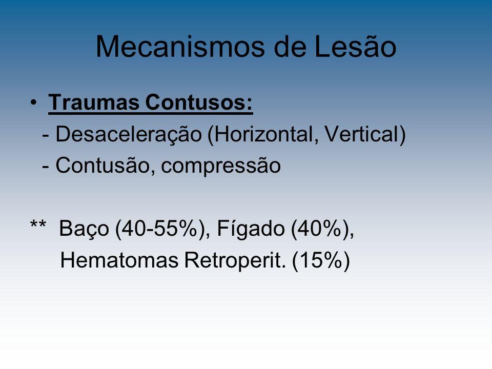 Mecanismos de Lesão Traumas Contusos: