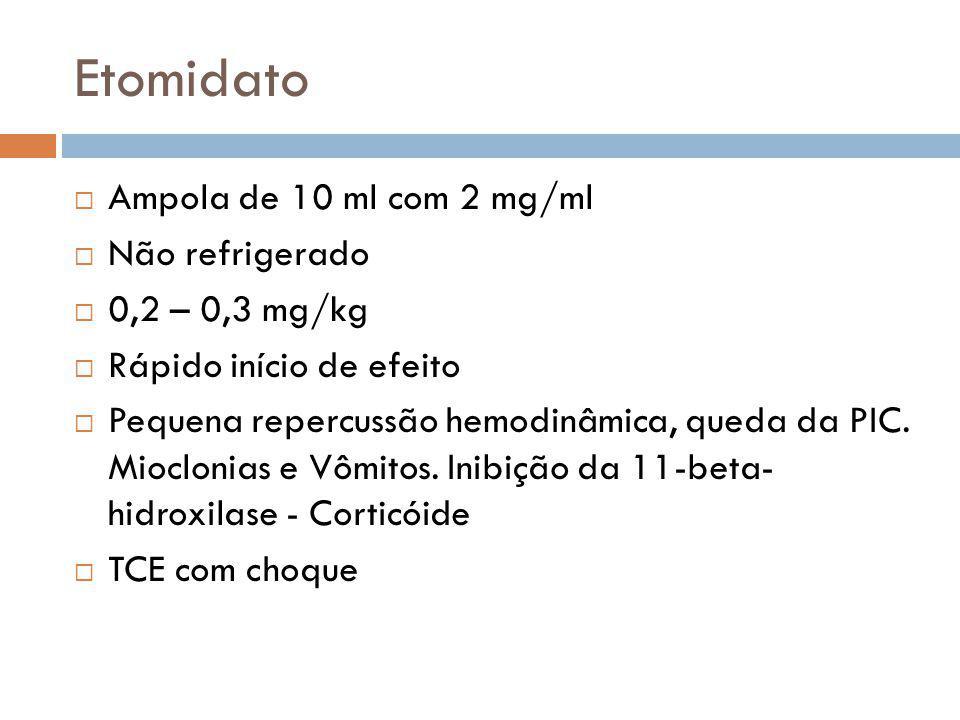 Etomidato Ampola de 10 ml com 2 mg/ml Não refrigerado 0,2 – 0,3 mg/kg