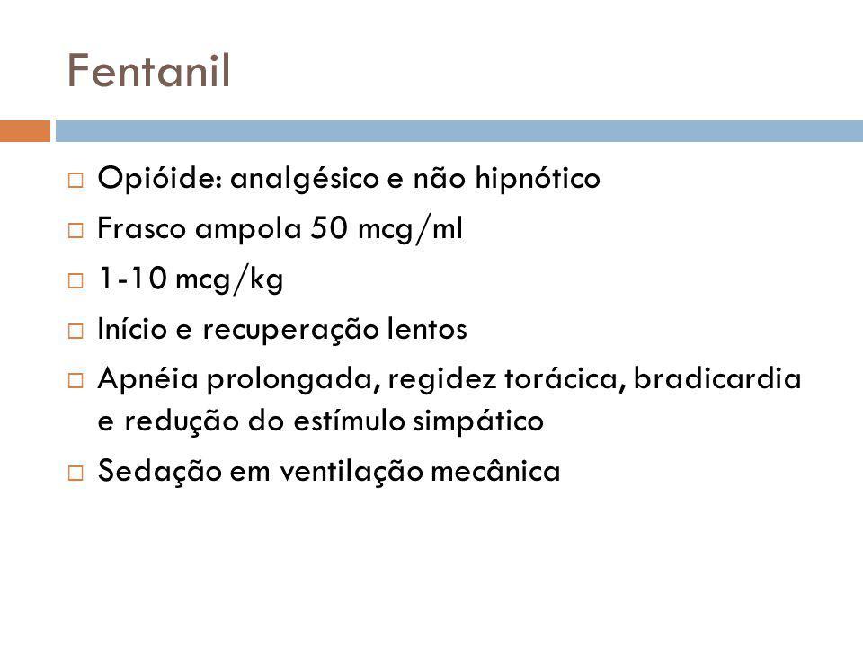 Fentanil Opióide: analgésico e não hipnótico Frasco ampola 50 mcg/ml