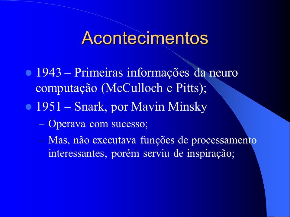 Acontecimentos 1943 – Primeiras informações da neuro computação (McCulloch e Pitts); 1951 – Snark, por Mavin Minsky.