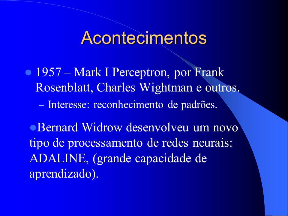 Acontecimentos 1957 – Mark I Perceptron, por Frank Rosenblatt, Charles Wightman e outros. Interesse: reconhecimento de padrões.