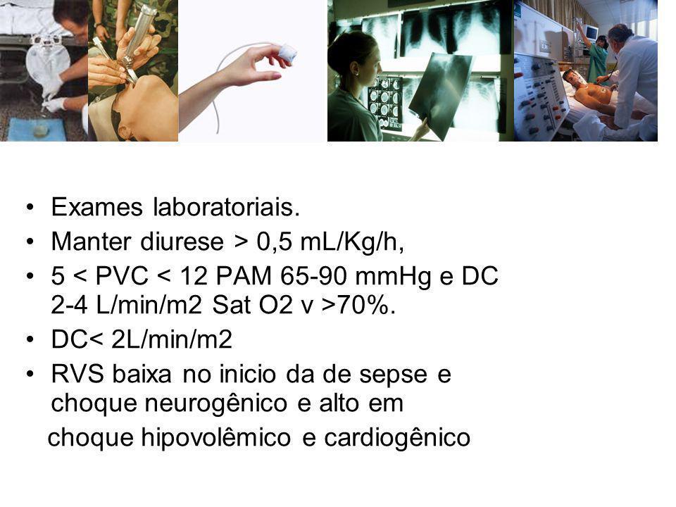 Exames laboratoriais. Manter diurese > 0,5 mL/Kg/h, 5 < PVC < 12 PAM 65-90 mmHg e DC 2-4 L/min/m2 Sat O2 v >70%.