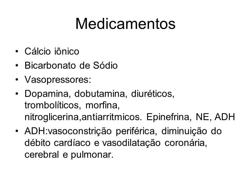 Medicamentos Cálcio iônico Bicarbonato de Sódio Vasopressores: