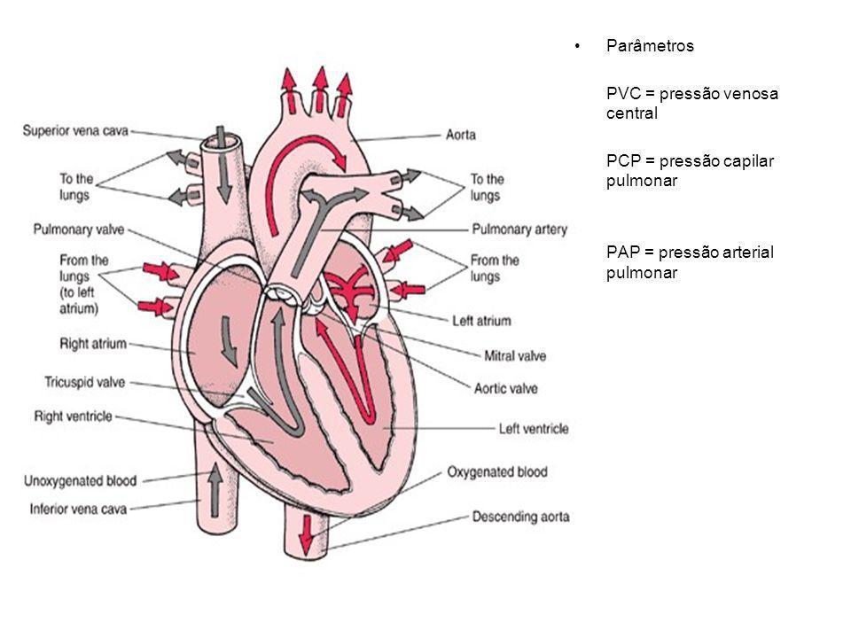 Parâmetros PVC = pressão venosa central. PCP = pressão capilar pulmonar.