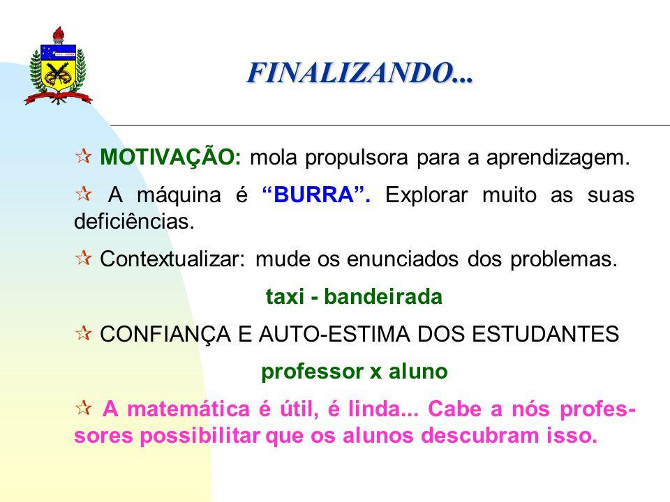 FINALIZANDO...  MOTIVAÇÃO: mola propulsora para a aprendizagem.