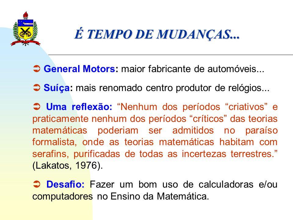 É TEMPO DE MUDANÇAS...  General Motors: maior fabricante de automóveis...  Suíça: mais renomado centro produtor de relógios...