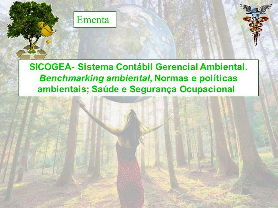 Ementa SICOGEA- Sistema Contábil Gerencial Ambiental. Benchmarking ambiental, Normas e políticas ambientais; Saúde e Segurança Ocupacional