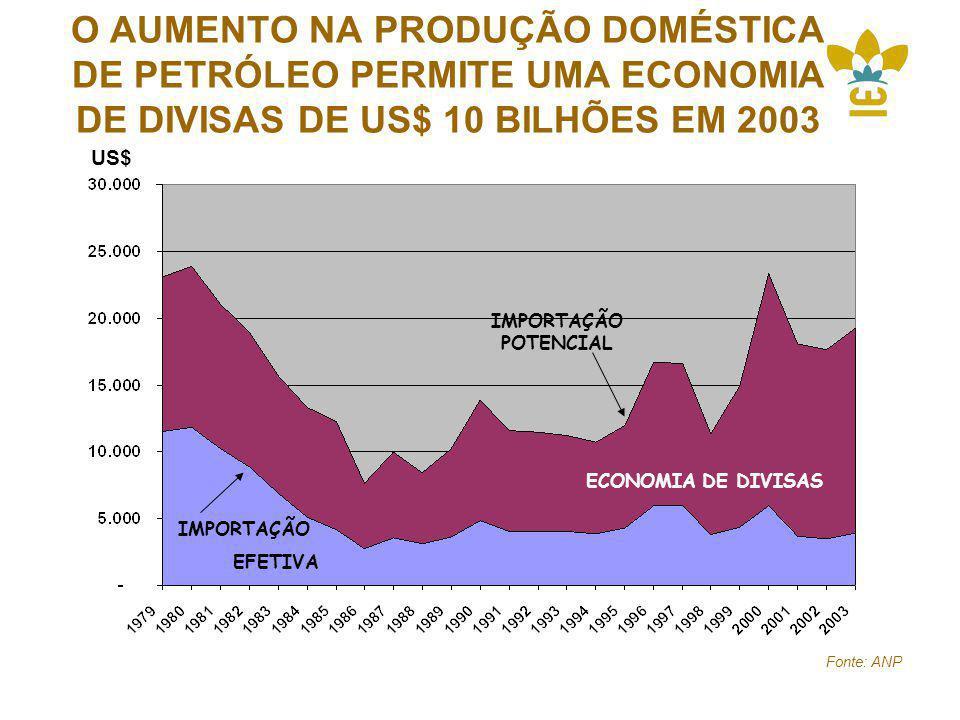 O AUMENTO NA PRODUÇÃO DOMÉSTICA DE PETRÓLEO PERMITE UMA ECONOMIA DE DIVISAS DE US$ 10 BILHÕES EM 2003