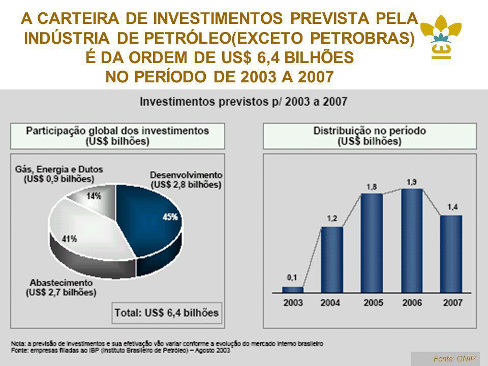 A CARTEIRA DE INVESTIMENTOS PREVISTA PELA INDÚSTRIA DE PETRÓLEO(EXCETO PETROBRAS) É DA ORDEM DE US$ 6,4 BILHÕES NO PERÍODO DE 2003 A 2007