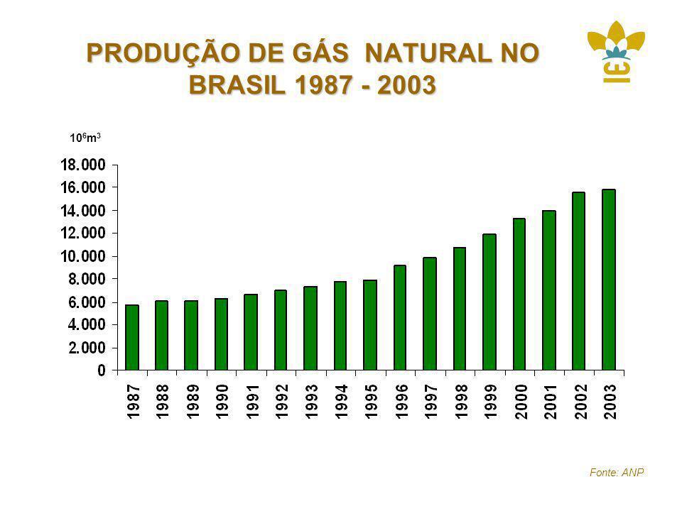 PRODUÇÃO DE GÁS NATURAL NO BRASIL 1987 - 2003