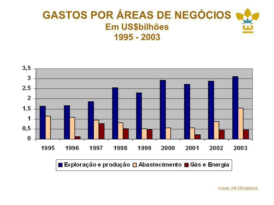 GASTOS POR ÁREAS DE NEGÓCIOS Em US$bilhões 1995 - 2003