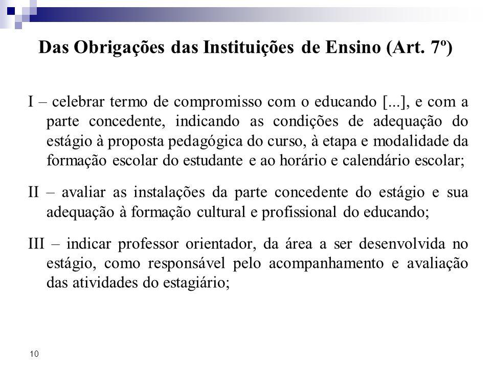 Das Obrigações das Instituições de Ensino (Art. 7º)