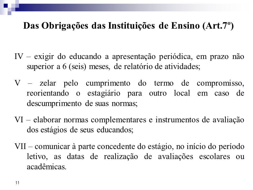 Das Obrigações das Instituições de Ensino (Art.7º)
