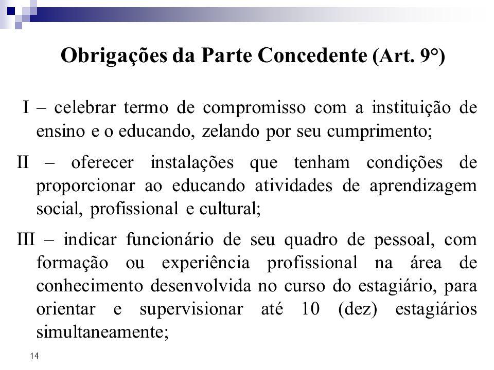 Obrigações da Parte Concedente (Art. 9°)