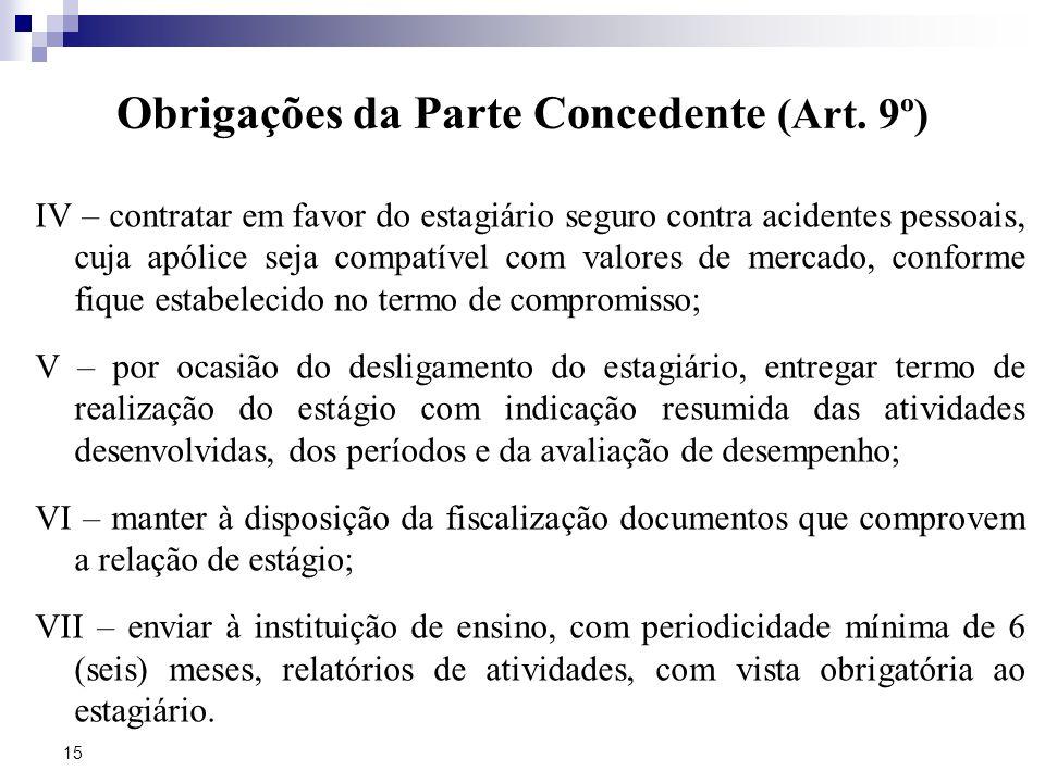 Obrigações da Parte Concedente (Art. 9º)