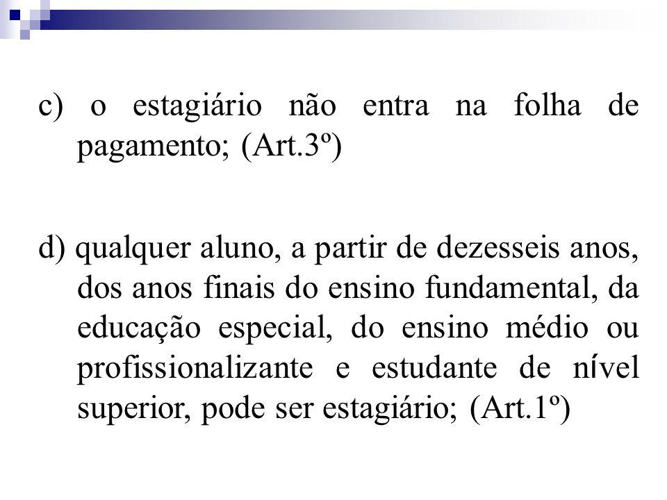 c) o estagiário não entra na folha de pagamento; (Art.3º)
