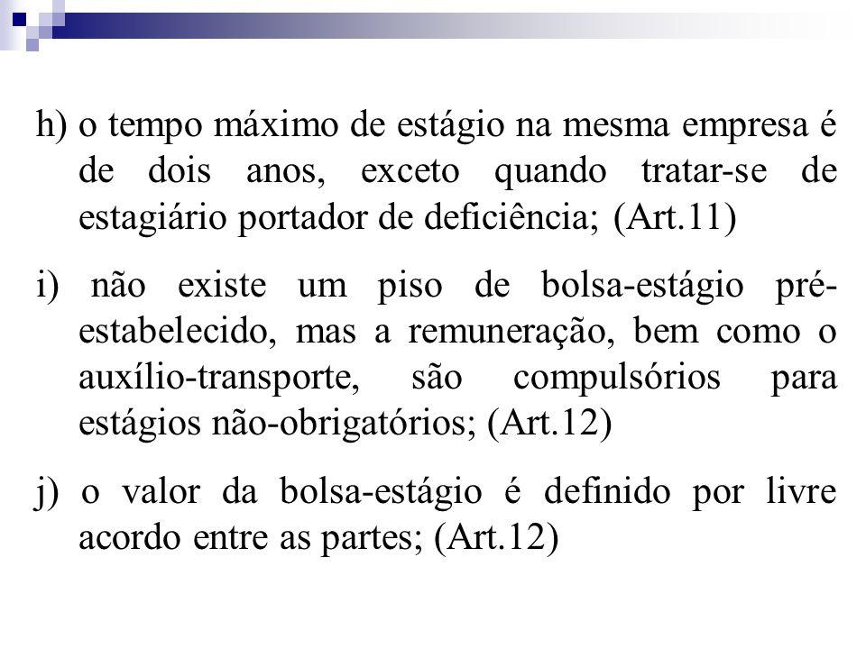 h) o tempo máximo de estágio na mesma empresa é de dois anos, exceto quando tratar-se de estagiário portador de deficiência; (Art.11)