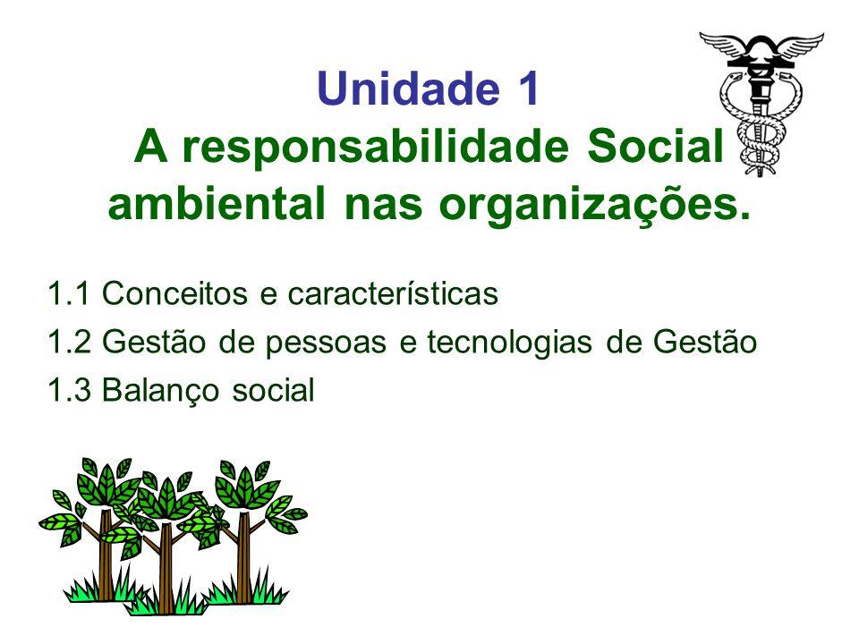 Unidade 1 A responsabilidade Social ambiental nas organizações.