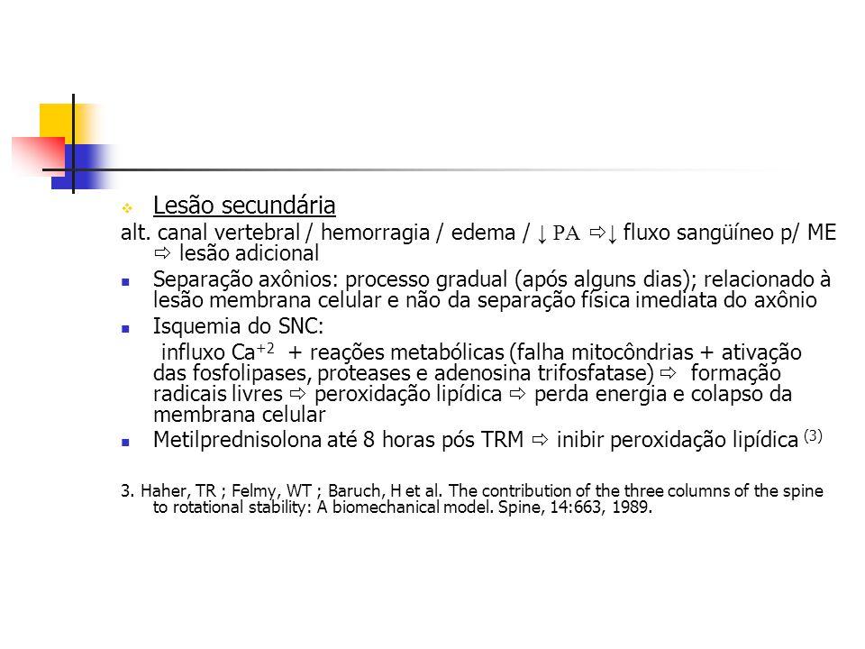 Lesão secundária alt. canal vertebral / hemorragia / edema / ↓ PA ↓ fluxo sangüíneo p/ ME  lesão adicional.