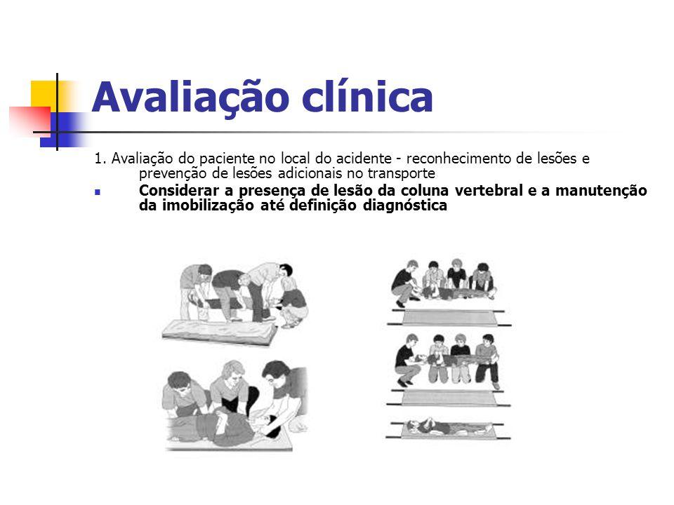 Avaliação clínica 1. Avaliação do paciente no local do acidente - reconhecimento de lesões e prevenção de lesões adicionais no transporte.