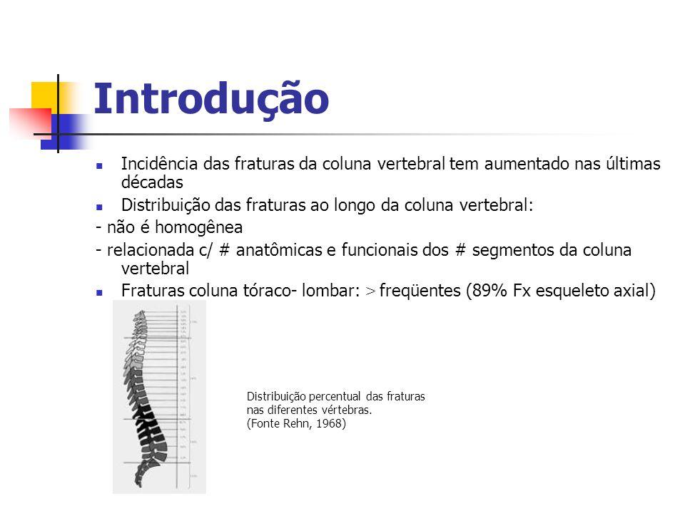 Introdução Incidência das fraturas da coluna vertebral tem aumentado nas últimas décadas. Distribuição das fraturas ao longo da coluna vertebral: