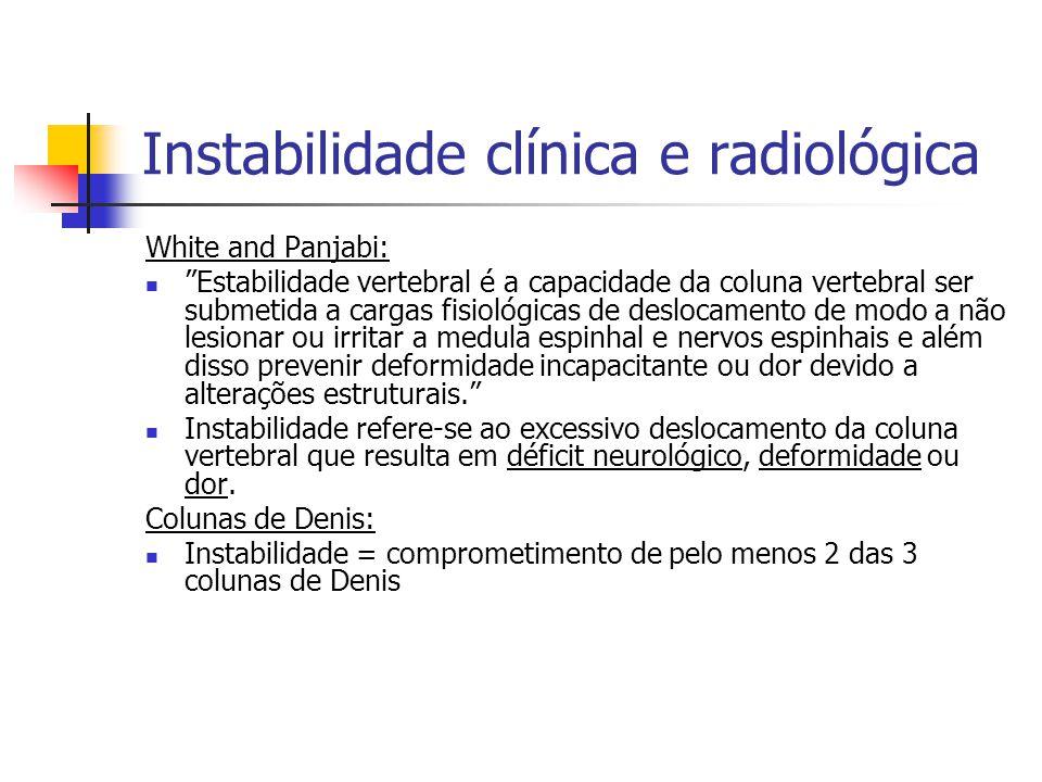 Instabilidade clínica e radiológica