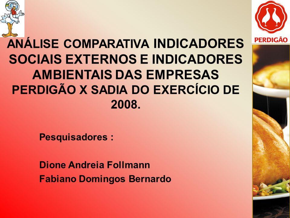 ANÁLISE COMPARATIVA INDICADORES SOCIAIS EXTERNOS E INDICADORES AMBIENTAIS DAS EMPRESAS PERDIGÃO X SADIA DO EXERCÍCIO DE 2008.