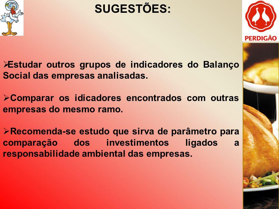 SUGESTÕES: Estudar outros grupos de indicadores do Balanço Social das empresas analisadas.