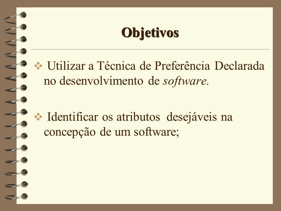 Objetivos Utilizar a Técnica de Preferência Declarada no desenvolvimento de software.