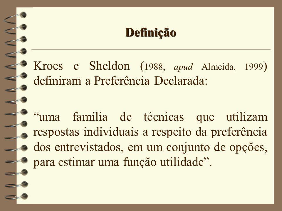 Definição Kroes e Sheldon (1988, apud Almeida, 1999) definiram a Preferência Declarada: